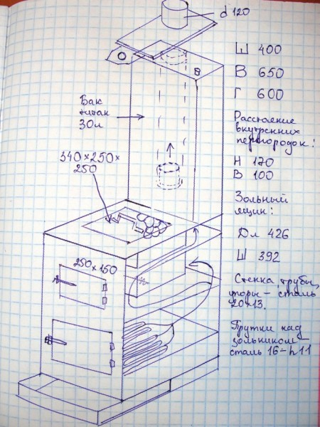 Печка своими руками из металла чертежи 10
